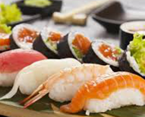 Sushi pieces on a table