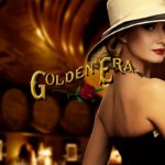 Golden Era Lounge rose logo with classy woman in the background in a nicely lit, elegant atmosphere