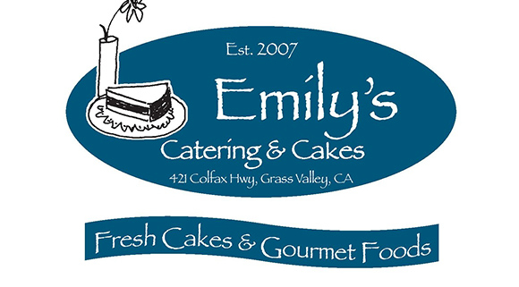 Emily's Catering & Cakes logo, blue handrawn cake and flower